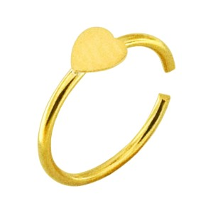 Heart Gold Plated 925 Silver Very Thin Nose Ring Piercing