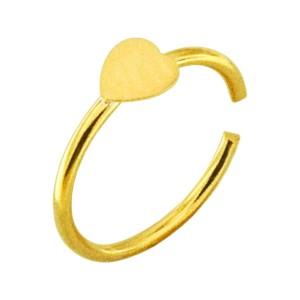 Nasenpiercing Ring Sehr Dünn Silber 925 Vergoldet Herz