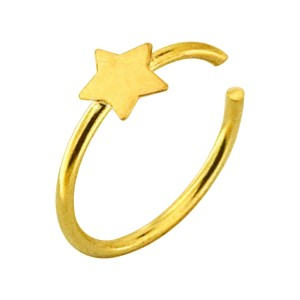 Star Gold Plated 925 Silver Very Thin Nose Ring Piercing