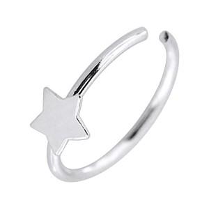 Piercing Nariz Anillo Muy Fino Plata 925 Metálico Estrella