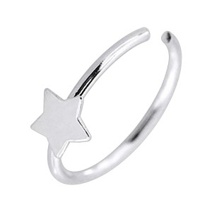 Star Metallized 925 Silver Very Thin Nose Ring Piercing