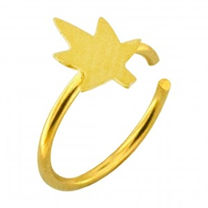 Cannabis Gold Plated 925 Silver Very Thin Nose Ring Piercing