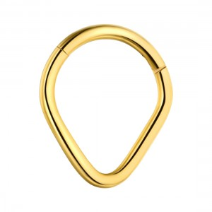 Pear Gold Anodized 316L Steel Hinged Segment Ring Piercing