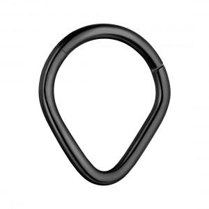 Pear Black Anodized 316L Steel Hinged Segment Ring Piercing