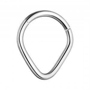 Pear Metallized 316L Steel Hinged Clicker Ring Piercing