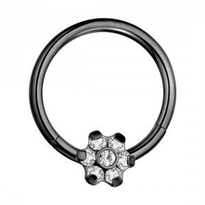 Flower 7 White Strass Black Anodized Segment Ring Piercing