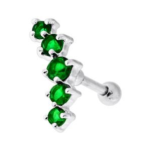 Piercing Hélix Cartilage Argent 925 Courbe 5 Strass Verts Foncés