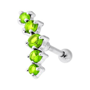5 Light Green Strass Curve 925 Silver Cartilage Ring Helix Piercing