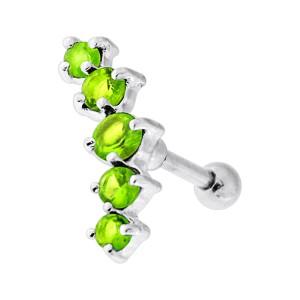 Piercing Hélix Cartilage Argent 925 Courbe 5 Strass Verts Clairs