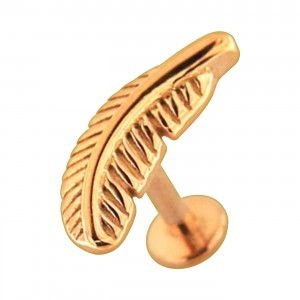Rose Gold Plain Feather 316L Steel Cartilage Ring Helix Piercing