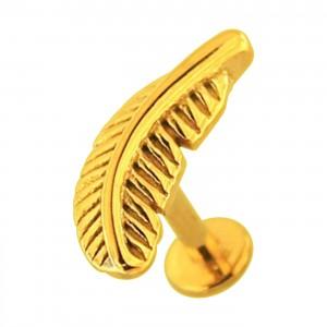 Golden Plain Feather 316L Steel Cartilage Ring Helix Piercing