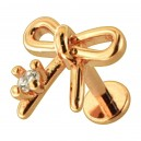 Rose Gold Plain Bow Tie 316L Steel Cartilage Ring Helix Piercing