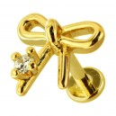 Golden Plain Bow Tie 316L Steel Cartilage Ring Helix Piercing