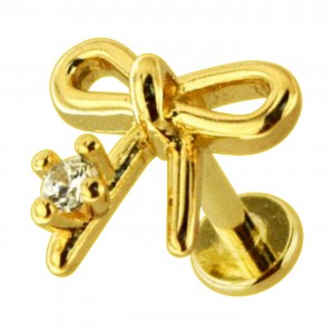 Golden Plain Bow Tie 316L Steel Cartilage Ring Helix Piercing