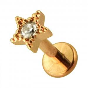 Rose Gold Plain Strass Star 316L Steel Cartilage Ring Helix Piercing