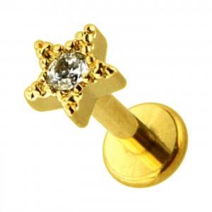 Piercing Helix Knorpel Stahl 316L Stern Strass Geformt Golden