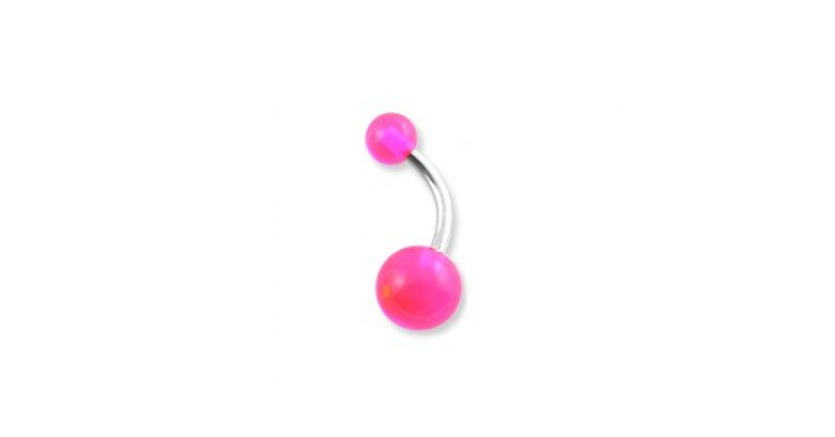 Transparent Pink Acrylic Belly Bar Navel Button Ring W Balls