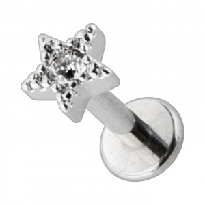 Metallized Plain Strass Star 316L Steel Cartilage Ring Helix Piercing