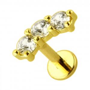 3 Round White CZ Strass Arc Golden 316L Steel Helix Ring Piercing