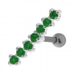 7 Dark Green Strass Line 925 Sterling Silver Helix Piercing Ring