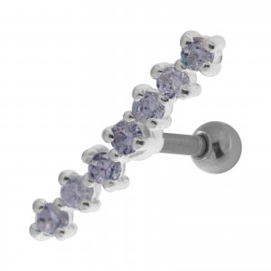 7 Light Purple Strass Line 925 Sterling Silver Helix Piercing Ring