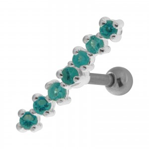7 Turquoise Strass Line 925 Sterling Silver Helix Piercing Ring
