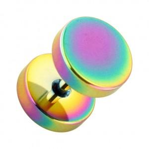 Flat Discs Rainbow Anodized 316L Steel Fake Plug Earlobe Piercing Stud Ring