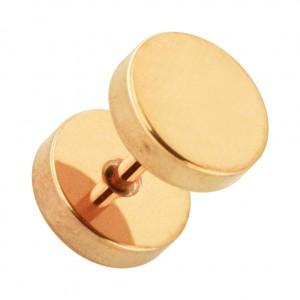 Flat Discs Rose Gold Anodized 316L Steel Fake Plug Earlobe Piercing Stud Ring