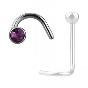 Grade 23 Titanium Nose Stud Screw Ring w/ Purple Strass