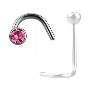 Grade 23 Titanium Nose Stud Screw Ring w/ Pink Strass