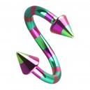 Piercing Spirale Rayé Abeille Rose / Vert Piques