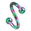 Balls Pink/Green Bee Striped Twisted Barbell Piercing