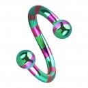 Piercing Espiral Rayado Abeja Rosa / Verde Bolas