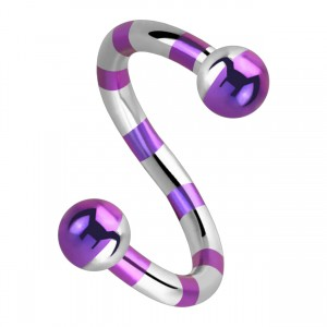 Balls Purple Bee Striped Twisted Barbell Piercing