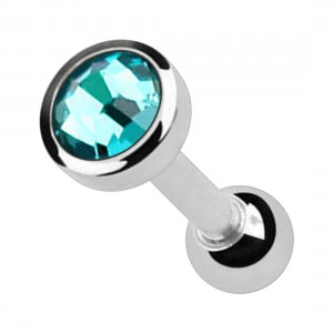 Turquoise 4mm Strass 316L Surgical Steel Cartilage Piercing Ring