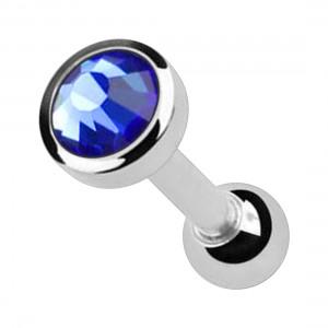 Piercing Cartílago Acero Quirúrgico 316L Strass 4 mm Azul Oscuro
