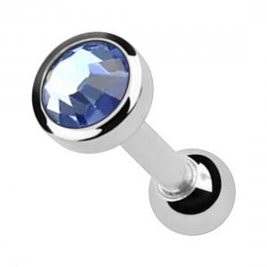 Light Blue 4mm Strass 316L Surgical Steel Cartilage Piercing Ring