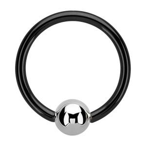 Piercing Ring BCR Eloxiert Schwarz mit Kugel Metallisiert