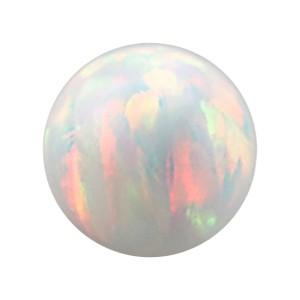Boule pour Piercing Opale Synthétique Blanche