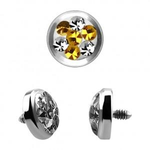 Strass Kristall 4 Punkte Gelb für Microdermal Piercing