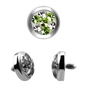 Strass Cristal 4 Points Vert pour Piercing Microdermal