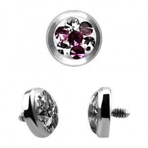 Purple 4 Points Crystal Strass Top for Microdermal Piercing