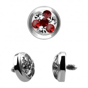 Strass Cristal 4 Points Rouge pour Piercing Microdermal