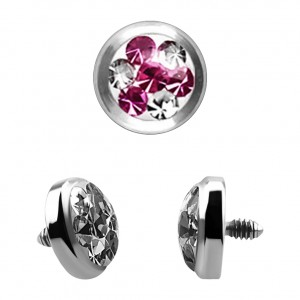 Strass Cristal 4 Points Rose pour Piercing Microdermal