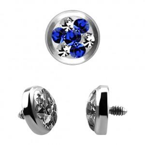 Strass Cristal 4 Points Bleu Foncé pour Piercing Microdermal