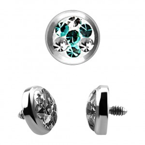 Strass Kristall 4 Punkte Türkis für Microdermal Piercing