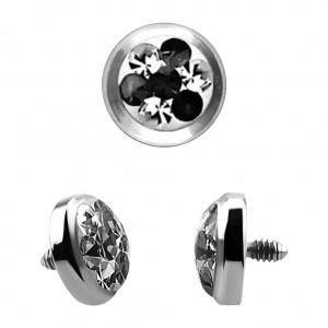 Strass Cristal 4 Points Noir pour Piercing Microdermal