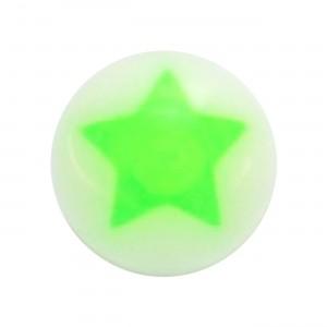 Boule Piercing Acrylique Etoile Astrale Verte / Blanc