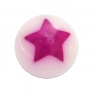 Boule Piercing Acrylique Etoile Astrale Violette / Blanc