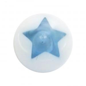 Boule Piercing Acrylique Etoile Astrale Bleue Claire / Blanc